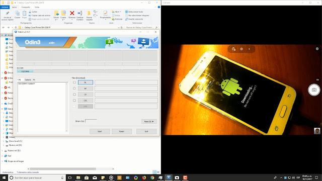 Samsung Galaxy core prime lte conectado a odin