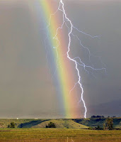 Rainbow and Lightning over Wyoming