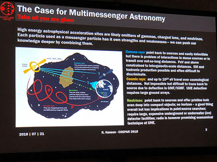 The case for multi-messenger astronomy (Source: COSPAR/ K. Hanson)