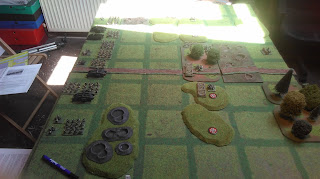 The set up of the battle, British on the left, Germans on the right