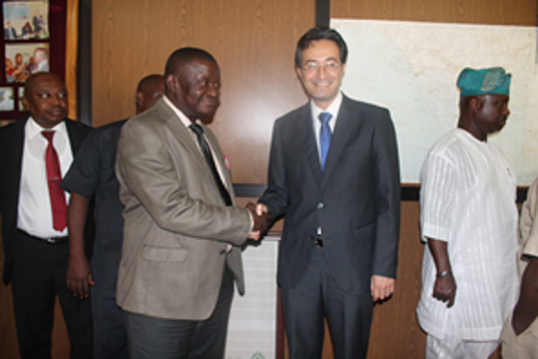 Amb. Leopoldo Rovayo & D.G/CEO of NOSDRA Sir Peter Idabor having handshake