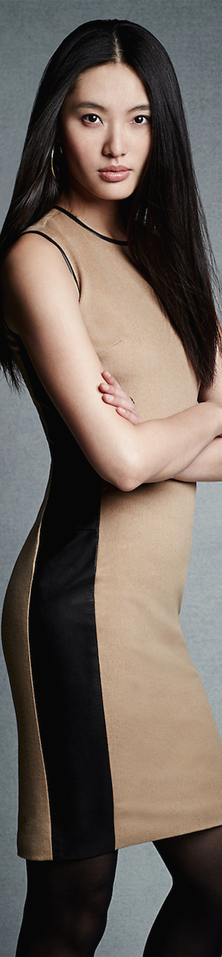 Black Label  Leather-Trim Winton Dress