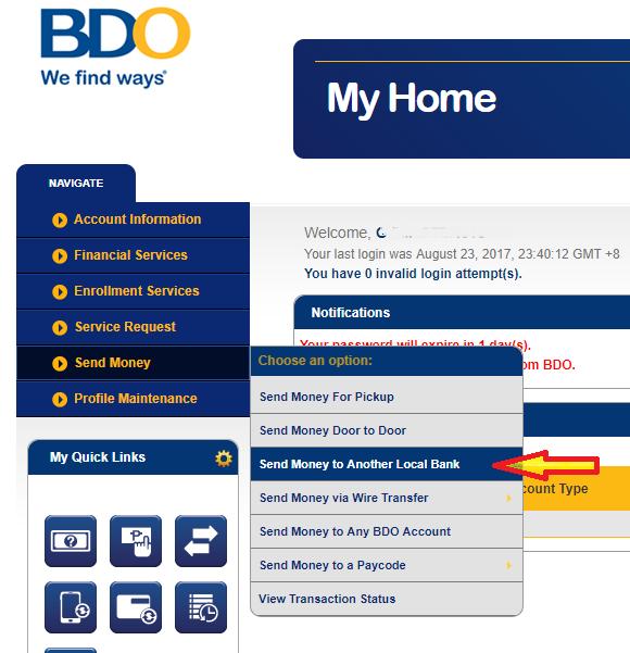 Transfer money from bdo to bpi fee