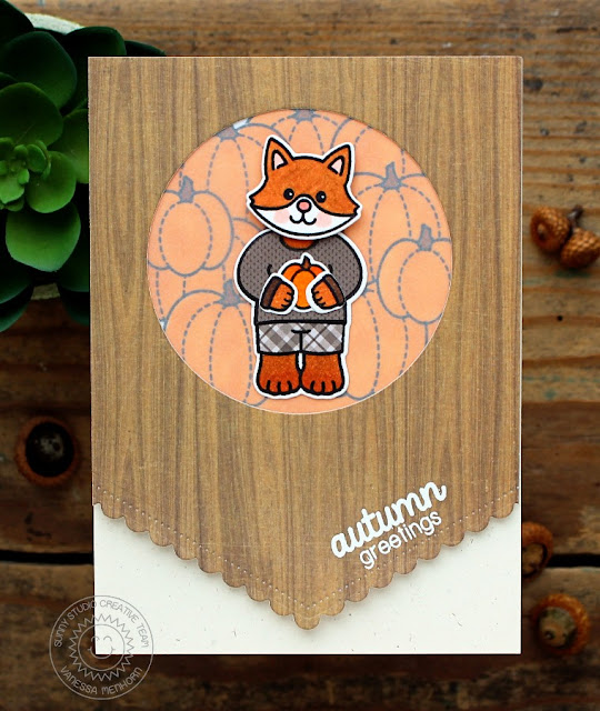 Sunny Studio Stamps: Fall Fox Card by Vanessa (using Fishtail Banners II, Harvest Happiness, Woodsy Creatures & Comfy Creatures)