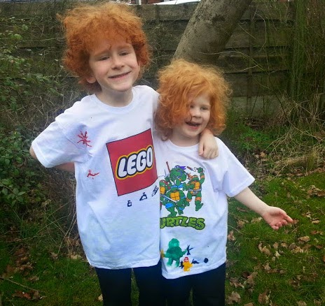 children wearing persnalised t shirts with LEGO and TMNT