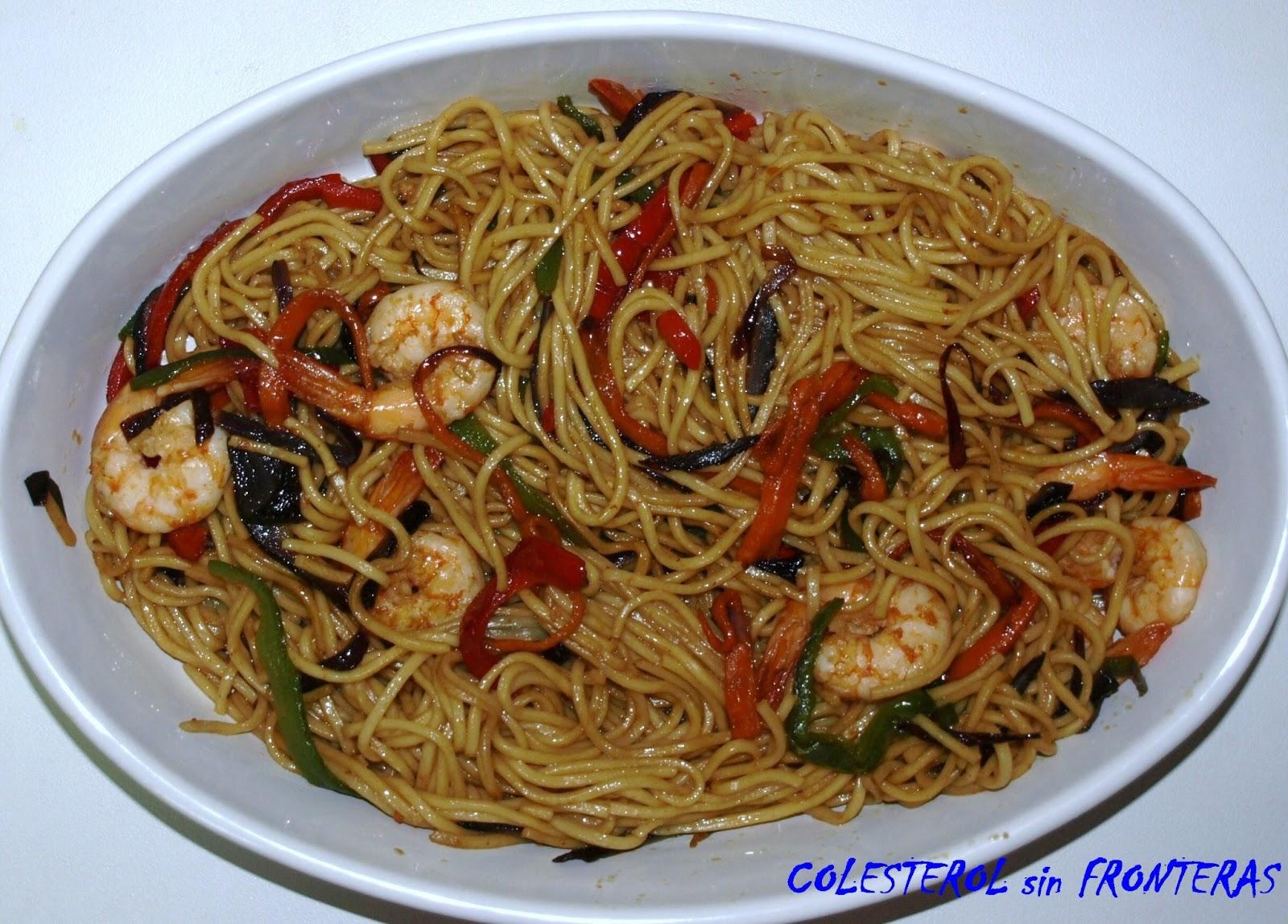Colesterol sin fronteras fideos chinos con gambas for Cocinar fideos de arroz