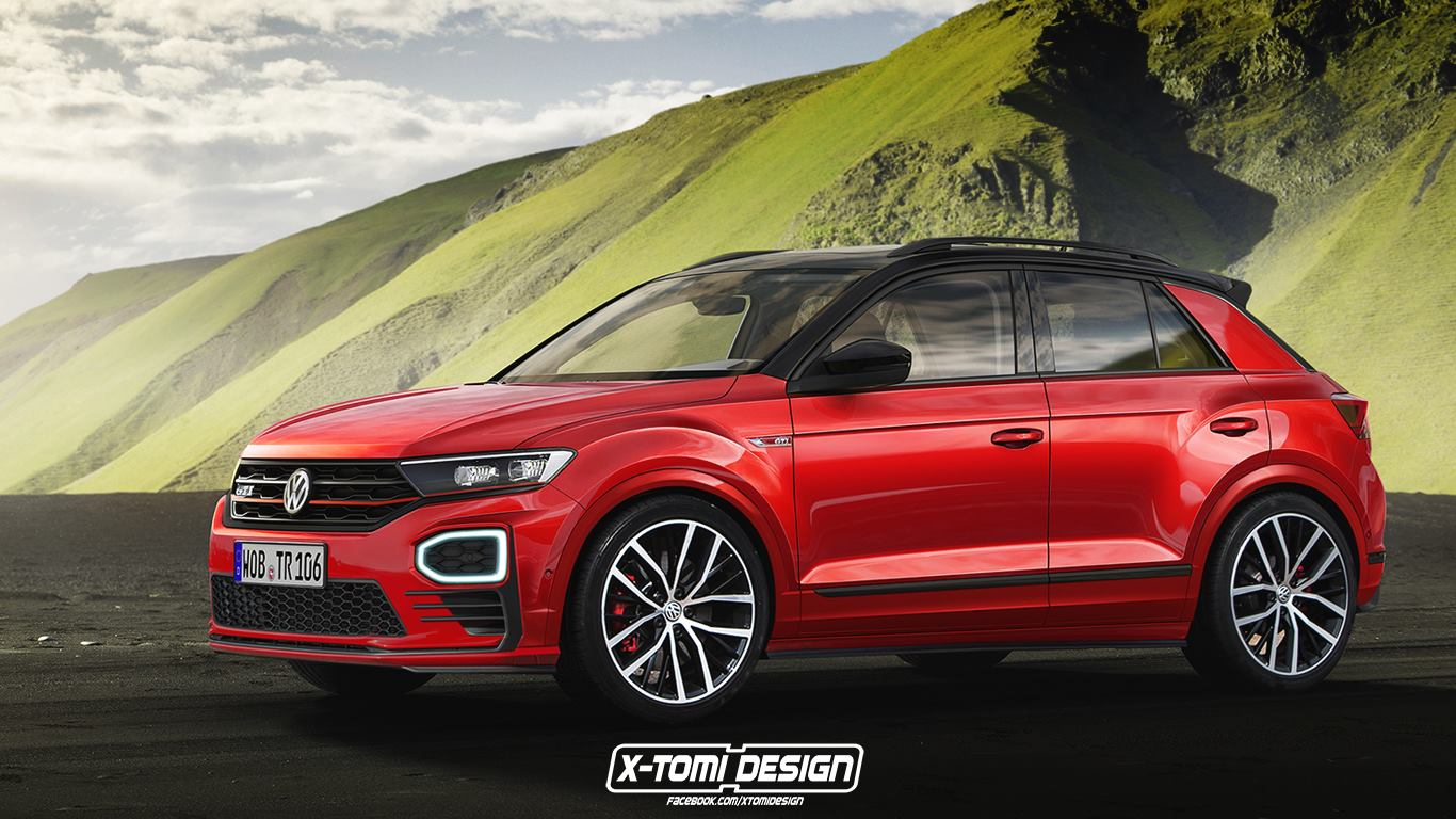 vw t roc has already spawned a gti render and it looks good carscoops. Black Bedroom Furniture Sets. Home Design Ideas