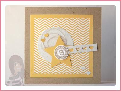 Stampin' Up! rosa Mädchen Kulmbach: Babykarte mit Designerpapier, Stern, Herzbordüre und Fürs Etikett