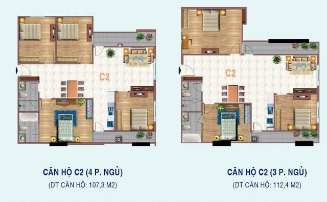 Mặt bằng căn 3 - 4 ngủ chung cư Liễu Giai Tower