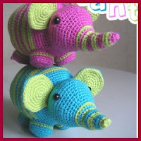 Elefantes coloridos amigurumis