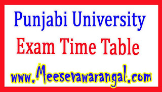 Punjabi University M.Ed Part-2 2016 Exam Time Table