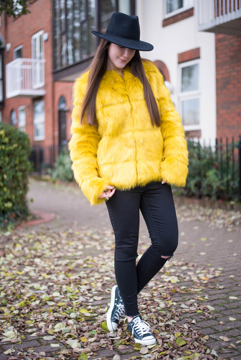 Yellow Berksa Faux Fur Coat