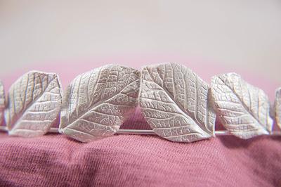 Bridal bride elf elvish art nouveau graduated silver leaf leaves tiara crown head piece