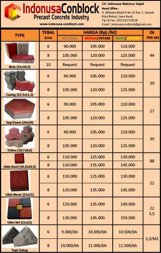 harga paving block murah konblok conblock k300 ukuran pabrik