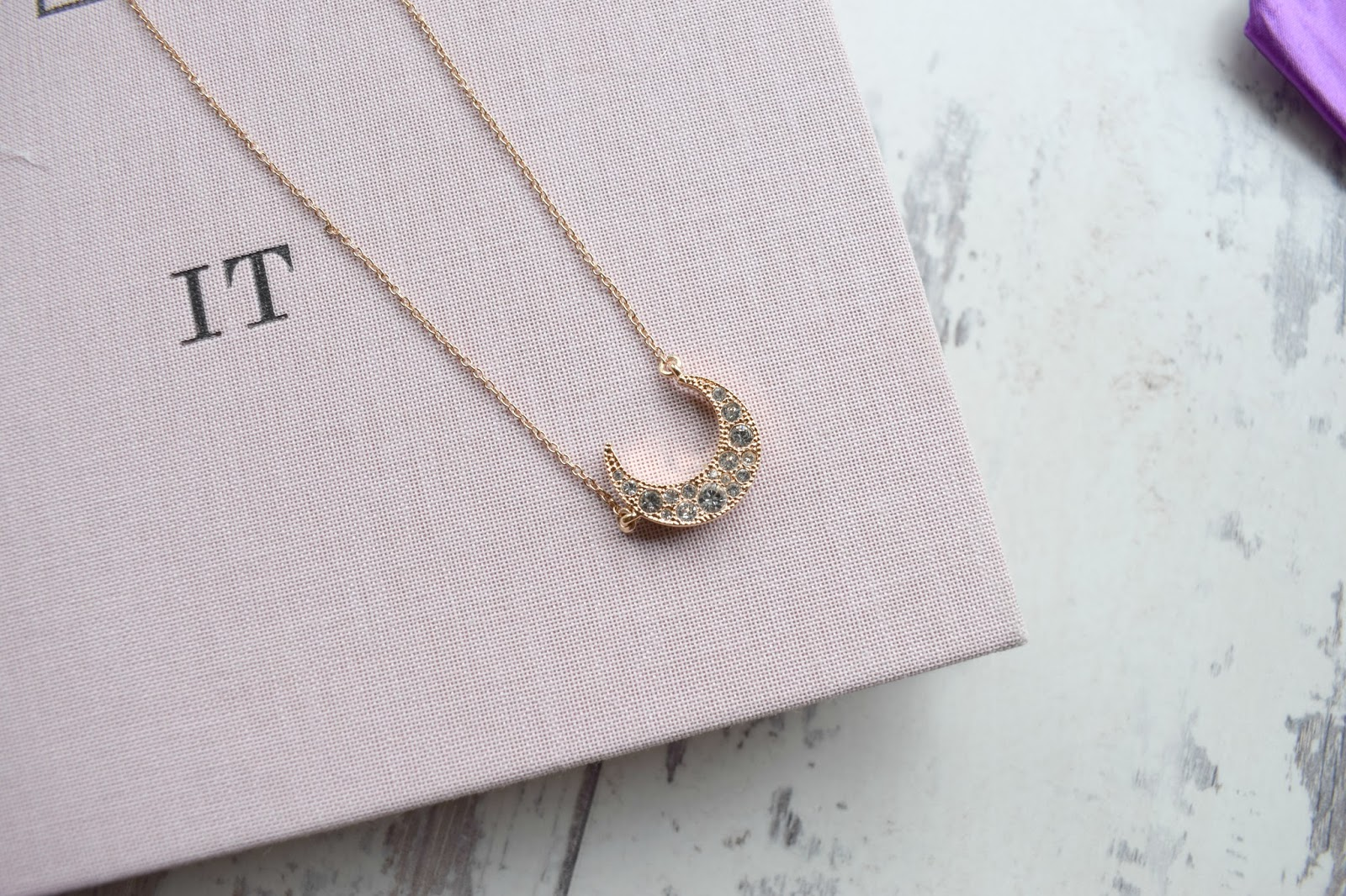 Just Between Us crescent moon necklace, Jewellery Review UK Personalised necklaces, bracelets etc