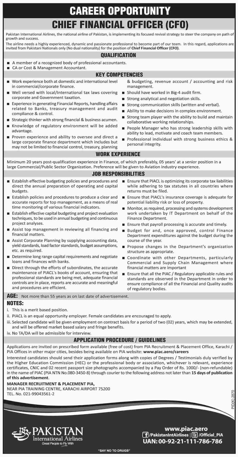 Jobs in Pakistan International Airlines PIA 2019