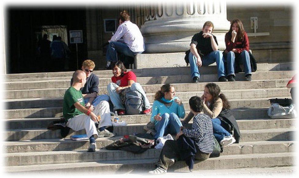 Foreign International Students Sitting Chatting