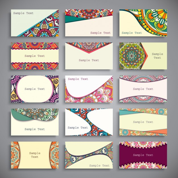 Boho style business cards collection Free Vector