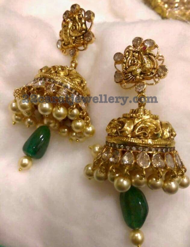 Kundan and Nakshi jhumkas from Jhaveri Jewels