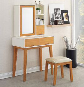 wooden dressing table for small bedroom: folding mirror for makeup storage
