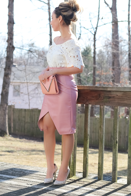 Soft pink high waist wrap pencil skirt