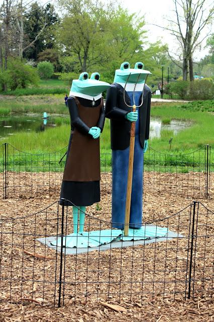 Copper Frog Sculptures in nature at Morton Arboretum