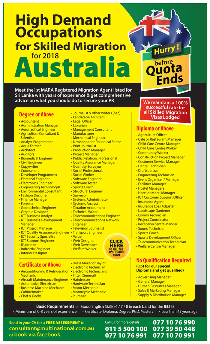 High Demand Occupations for Skilled Migration – Australia Australian ...
