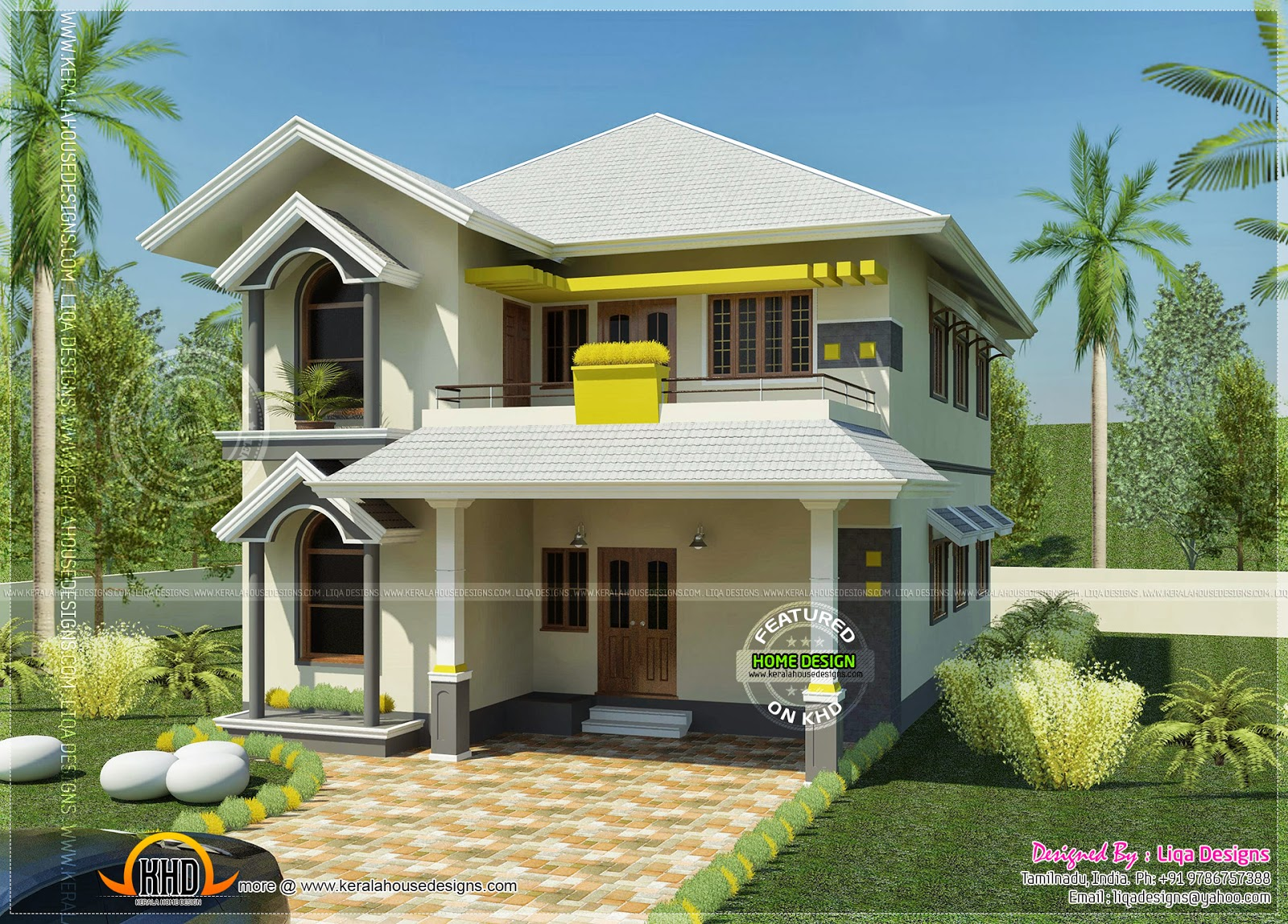 House south indian style in 2378 square feet kerala home for Indian small house design 2 bedroom