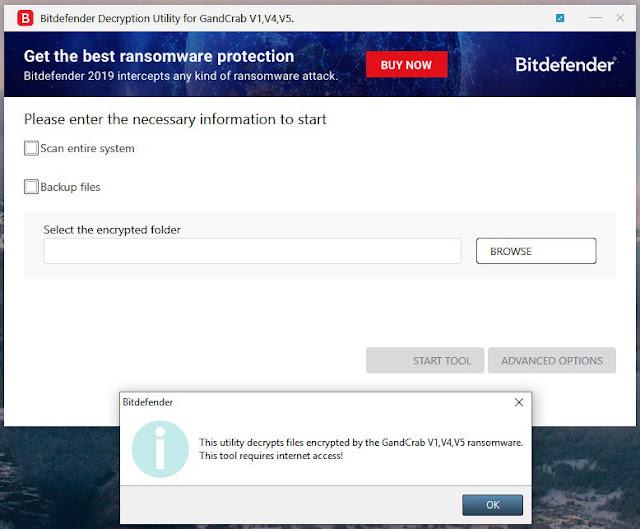 Bitdefender phát hành công cụ giải mã dành cho mã độc mã hoá tống tiền GandCrab v5.1, tuy nhiên tin tặc đã phát hành phiên bản v5.2
