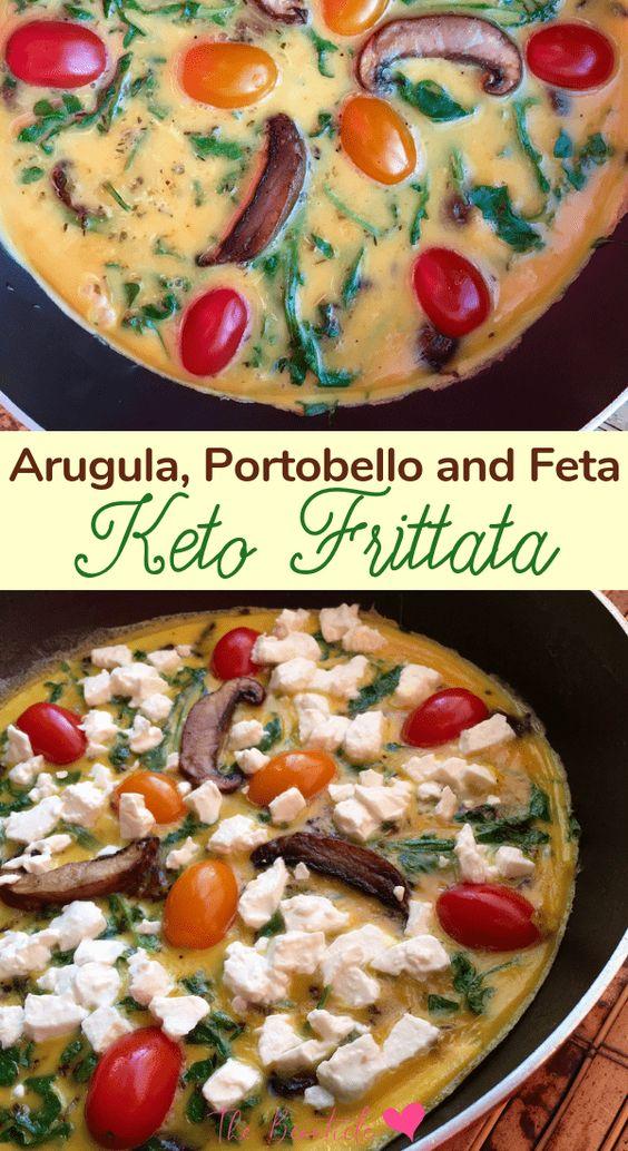 Keto Frittata Recipe with Arugula, Portobello Mushroom and Feta Cheese