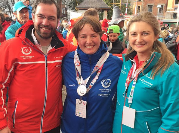 Hereditary Grand Duke Guillaume and Hereditary Grand Duchess Stéphanie in Schladming for Special Olympics World Winter Games 2017
