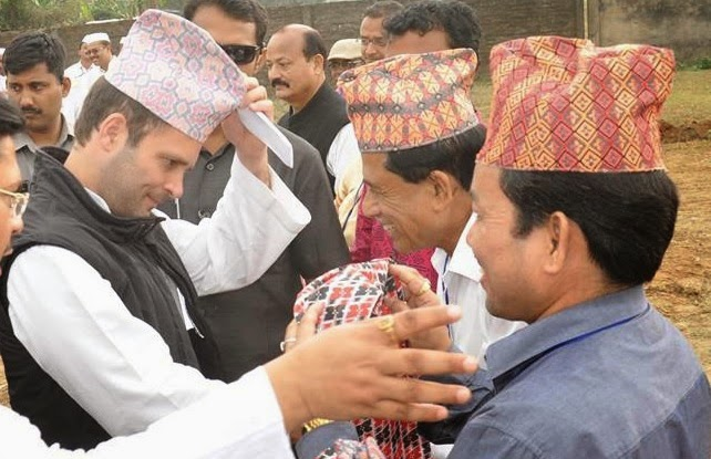 RAHUL GANDHI Vice President of Indian National Congress with a Gorkhali Khada and Dhaka Topi