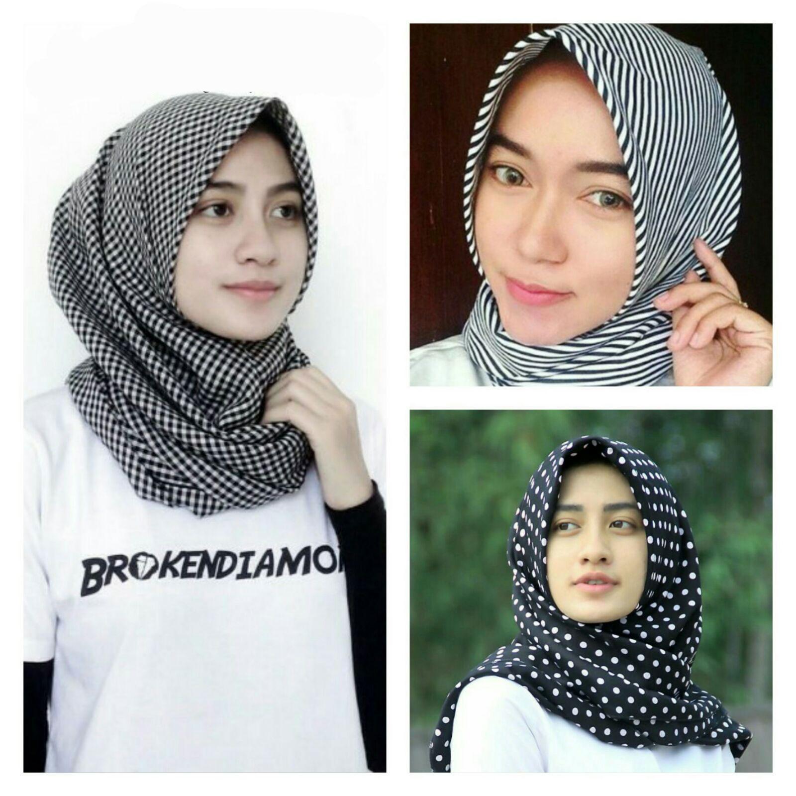 Jilbab Monochrome Segi Empat Dan Pashmina