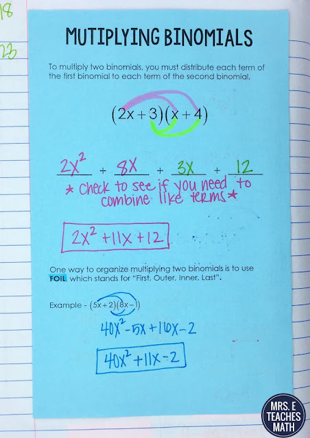 Multiplying Binomials Notes for Interactive Notebooks in Algebra 1