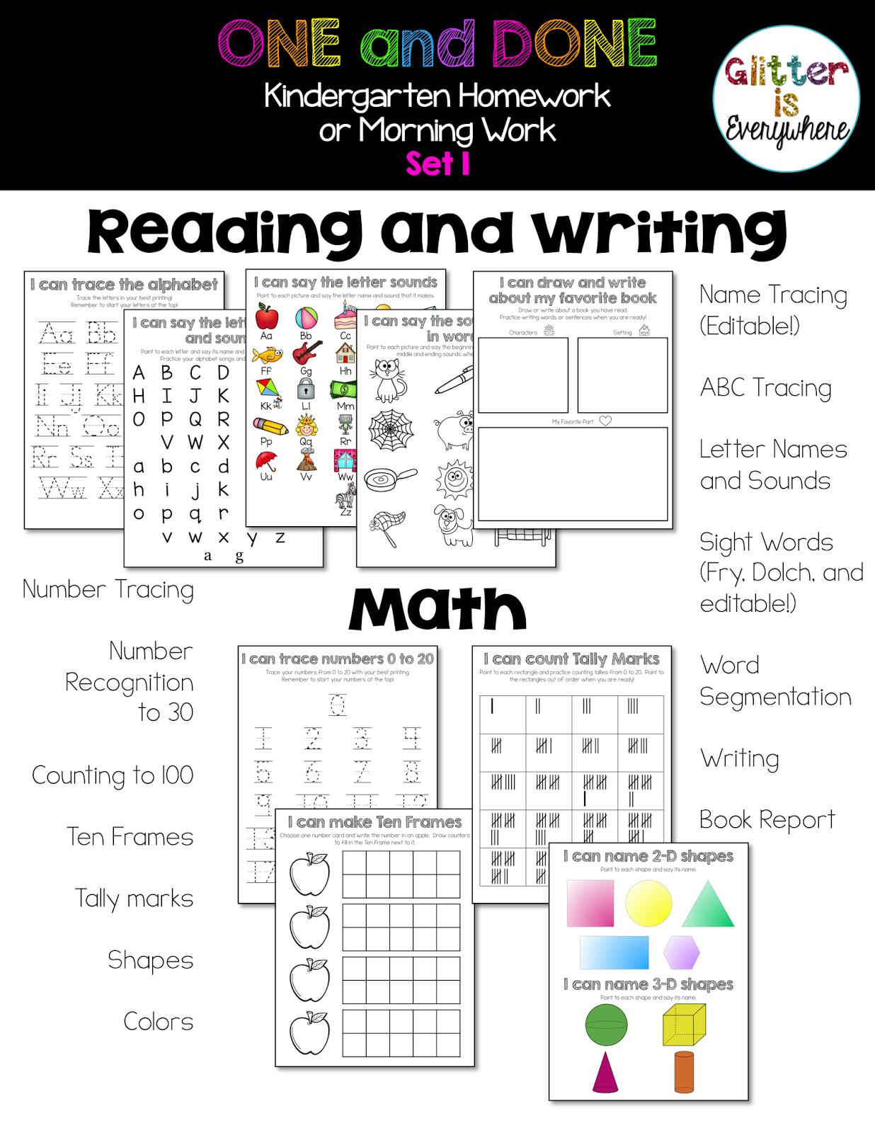 One And Done Kindergarten Homework Or Morning Work