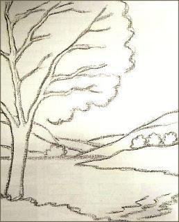 Sketsa objek dengan arang tahap 2