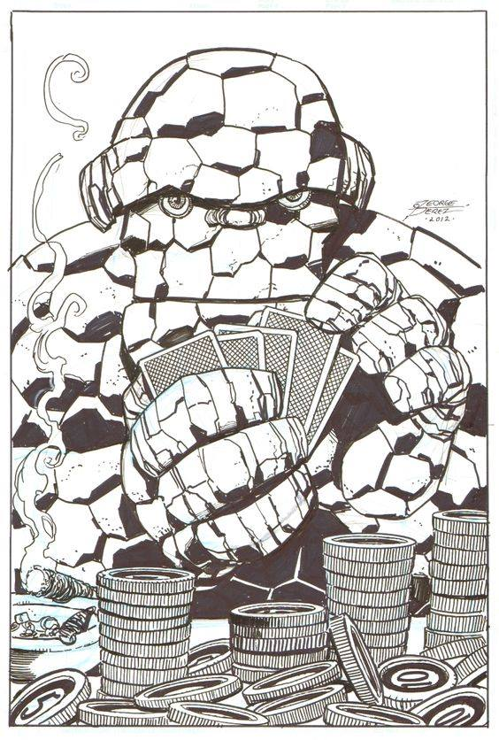 Giant Size Marvel Thing Tuesday The Thing Playing Poker By George Perez