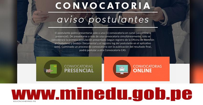 MINEDU: Convocatoria CAS Enero 2018 - Cerca de 300 Puestos de Trabajo en el Ministerio de Educación - www.minedu.gob.pe