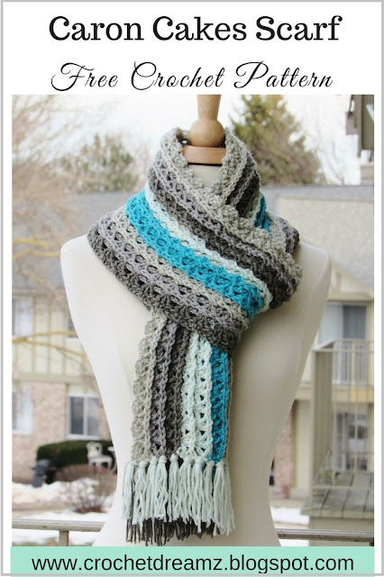 Caron Free Knitting Patterns : Crochet Dreamz: Ocean Waves Scarf, Free Crochet Scarf Pattern Using Caron Cak...