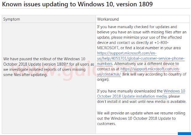 Problemi noti dell'aggiornamento Windows 10 versione 1809