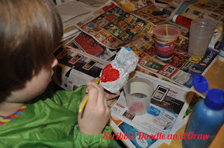 kids crafts paper mache love birds paint red heart