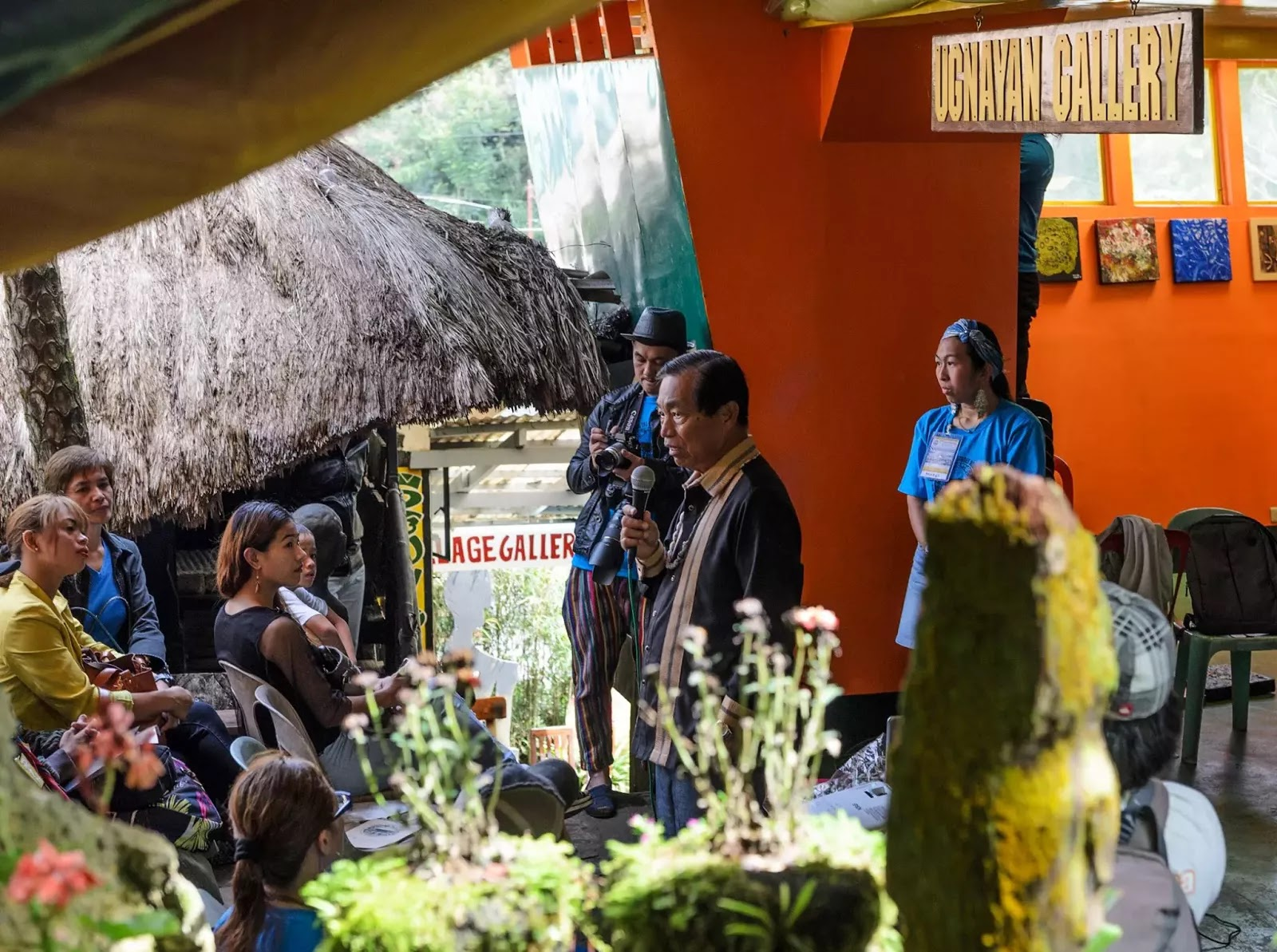 International Arts Festival 8th Tam-awan Baguio City Philippines Keeping the Stones Rolling Opening Ceremonies Honorable Baguio City Mayor Mauricio G. Domogan Addressing Festival Participants Guests Artisits Media