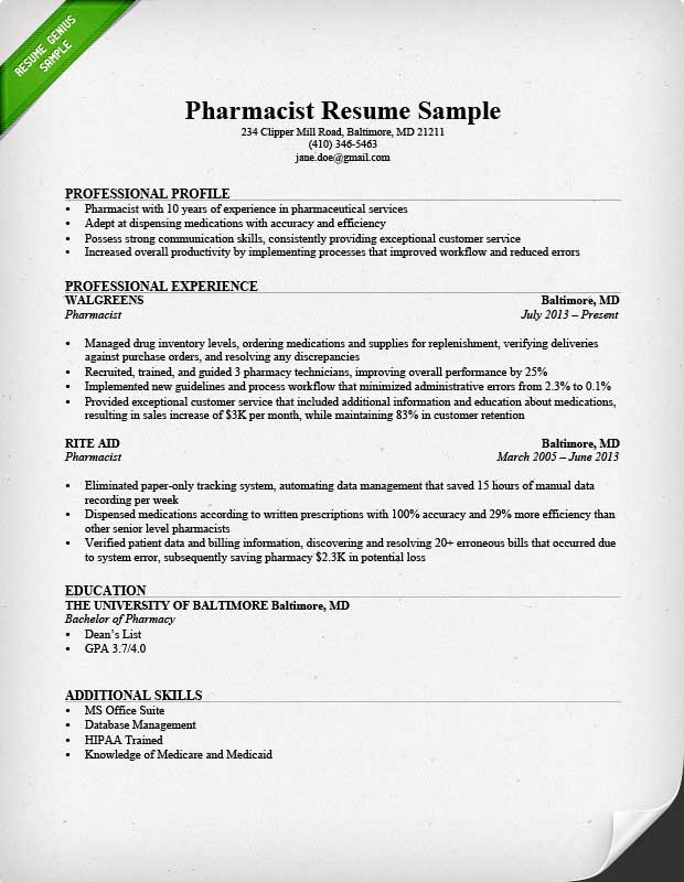 Pharmacy Resume Sample Sample Resumes - relevant experience resume sample