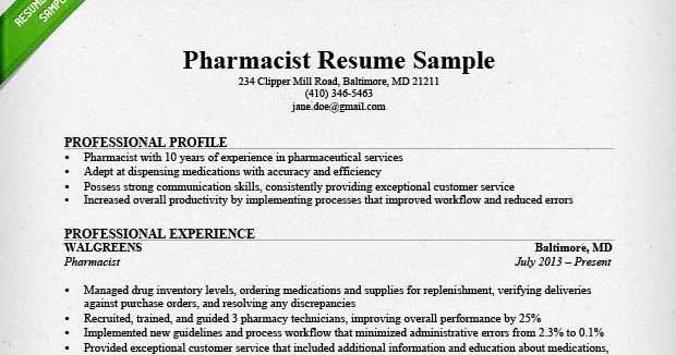 Pharmacy resume example