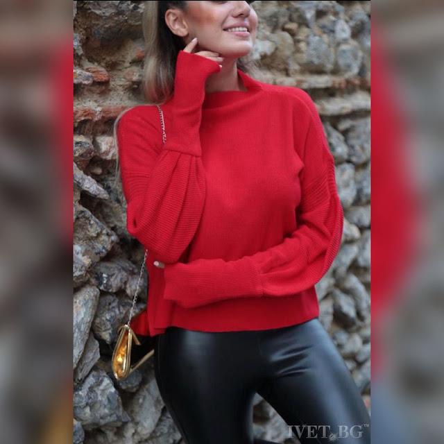 Μακρυμάνικη γυναικεία κόκκινη μπλούζα RAINA RED