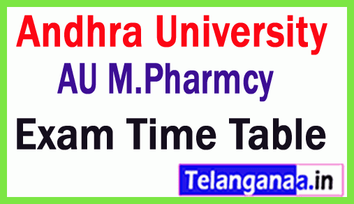Andhra University M Pharm Exam Time Table