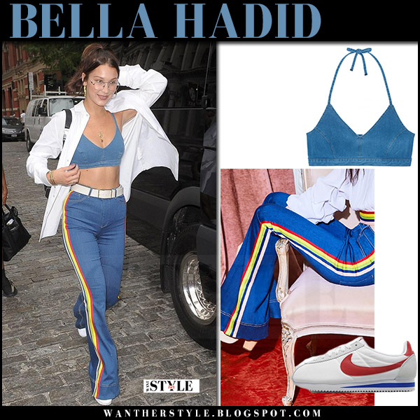 Bella Hadid in blue crop top j brand roseann and blue yellow stripe jeans alice olivia what she wore july 28 streetstyle