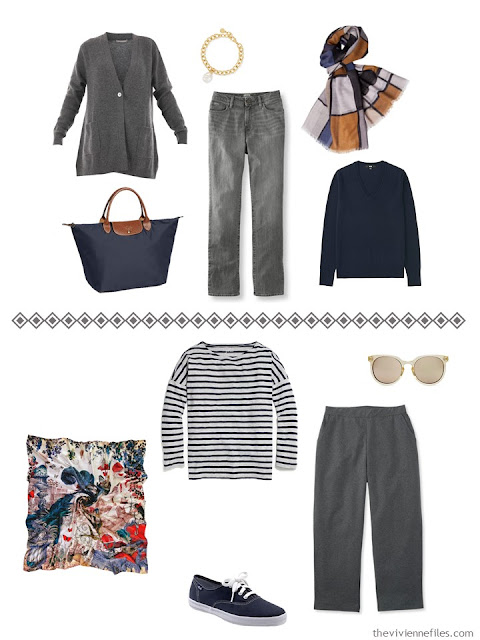 two grey outfits from a navy, grey and camel Four by Four travel capsule wardrobe