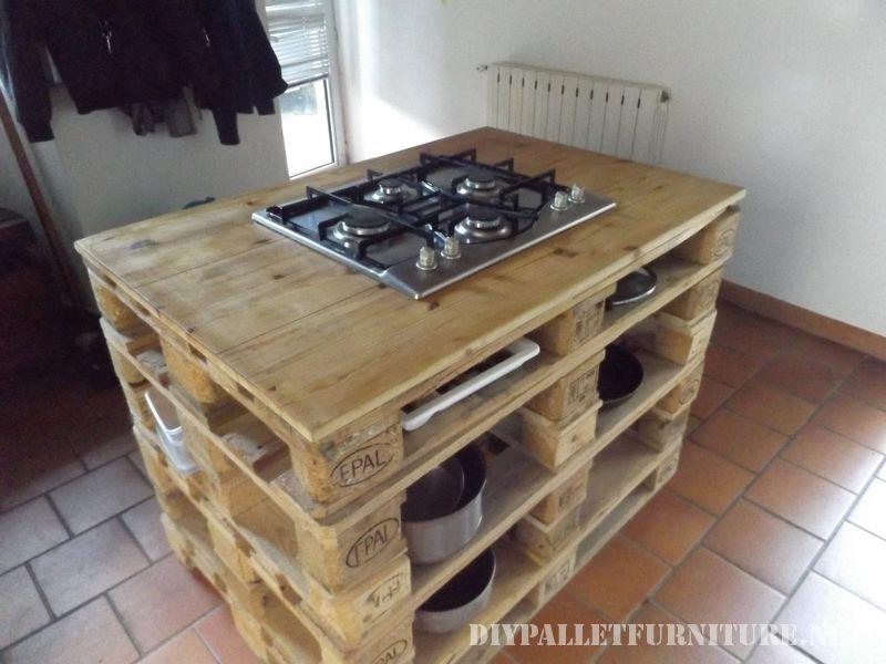 Mueblesdepaletsnet Encimera de cocina con fogones hecha
