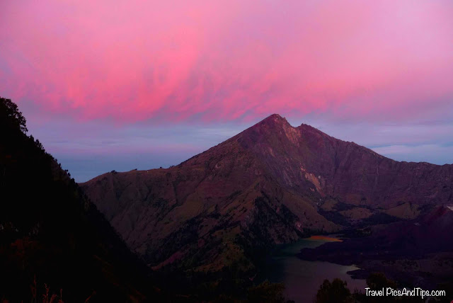 Beautiful pink sunset, Trekking mount Rinjani Indonesia